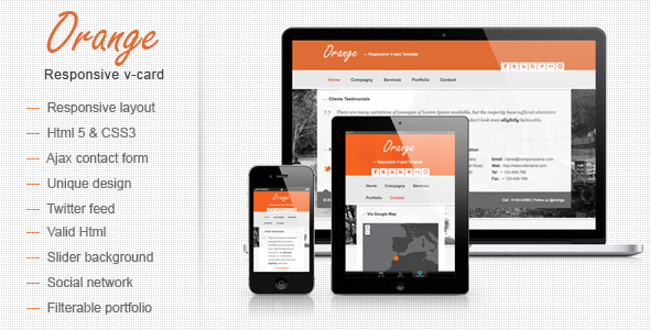 Orange - Responsive V-card Template
