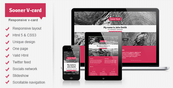 Sooner V-card Responsive One Page V-card Template